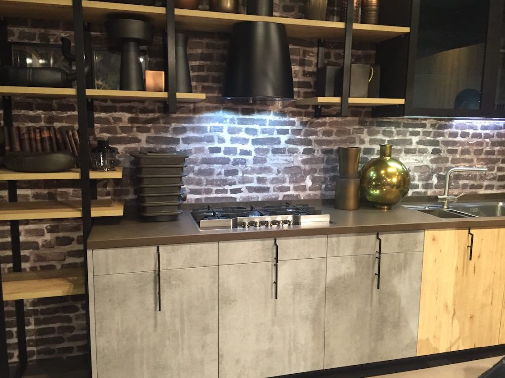Vertical kitchen cabinet handles with an industrial feel