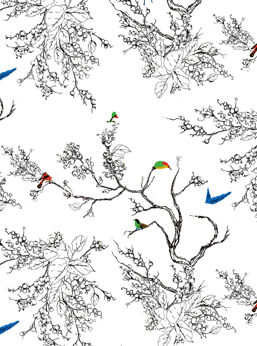 wall mural - vines and birds - preview