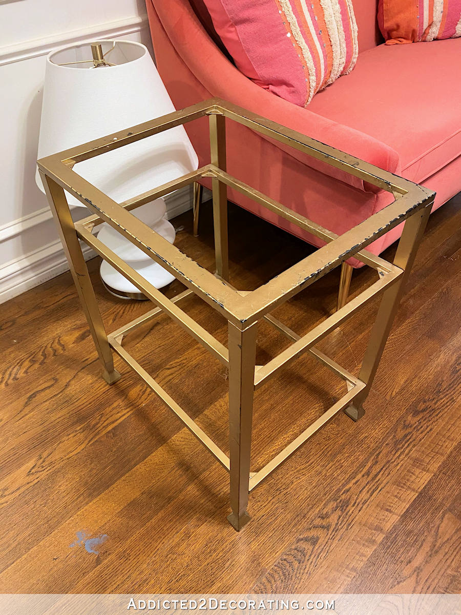 metal and glass side table makeover - 1