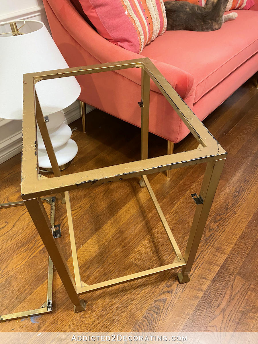 metal and glass side table makeover - 3