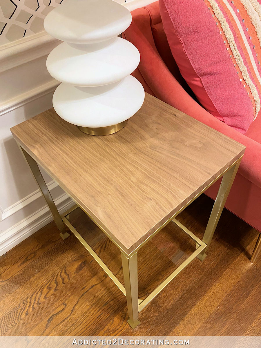 metal and glass side table makeover - after - 1