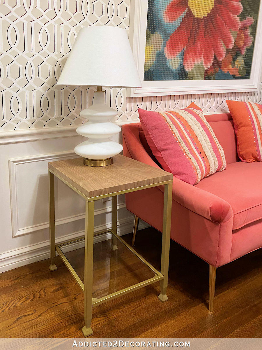metal and glass side table makeover - after - 2