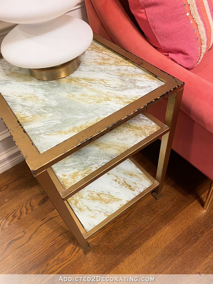 metal and glass side table makeover - before - 3