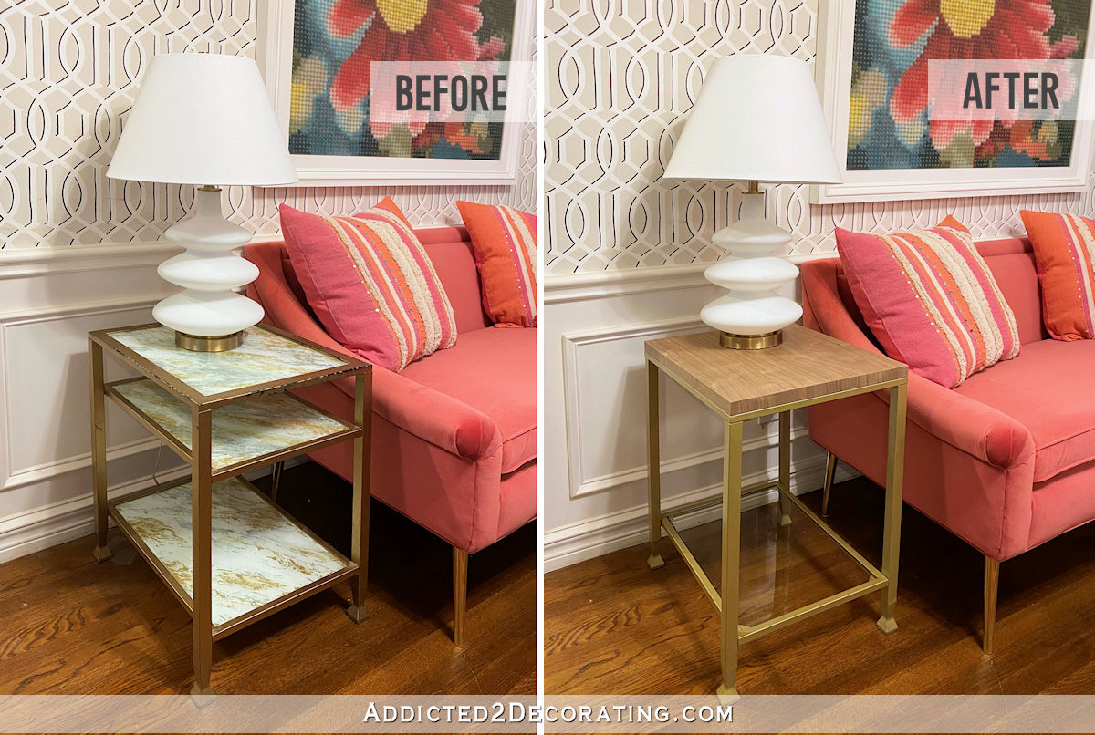 metal and glass side table makeover - before and after 2